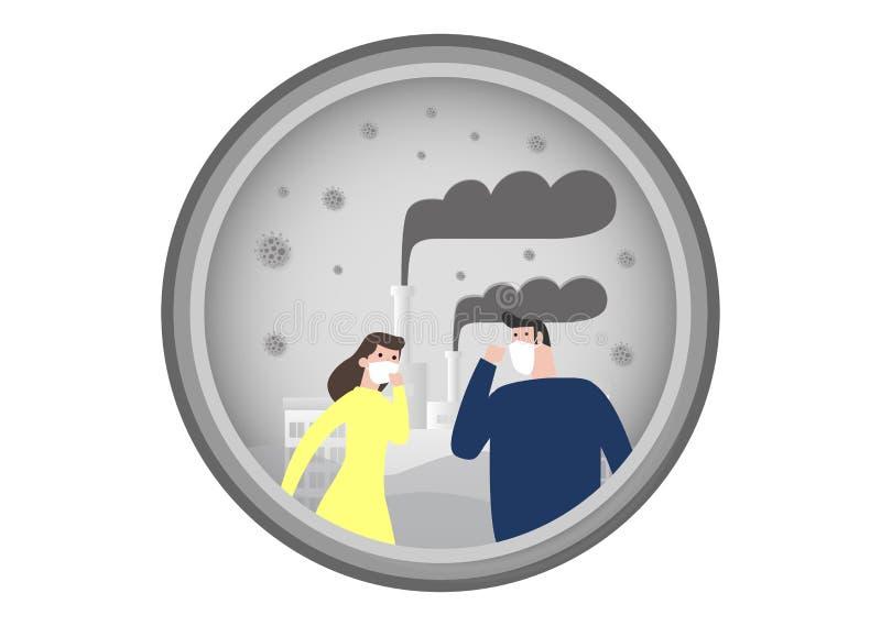 Folk i maskeringar på grund av fint damm e.m. 2 bärande maskering för 5, för man och för kvinna mot smog Fint damm, luftförorenin stock illustrationer