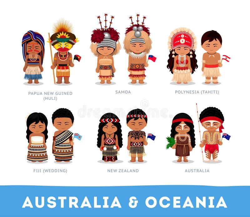 Folk i nationell kläder Australien och Oceanien royaltyfria bilder