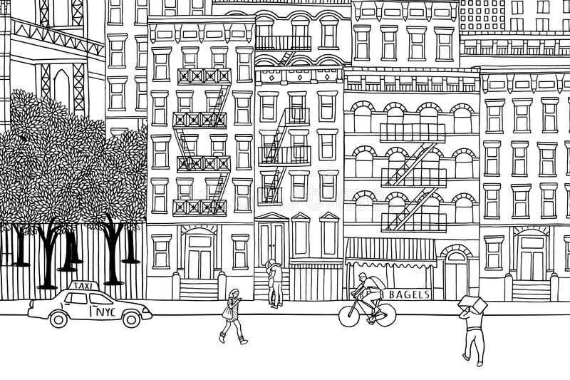 Folk i NYC royaltyfri illustrationer