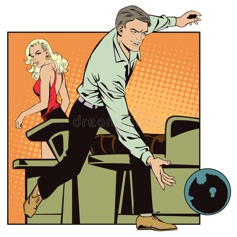Folk i retro stilpopkonst och tappningadvertizing Mankastboll i bowling vektor illustrationer