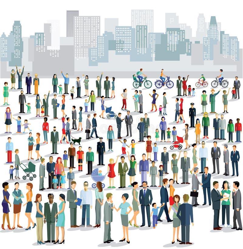 Folk i stad stock illustrationer