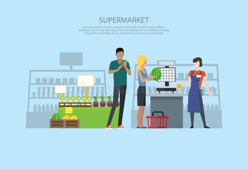 Folk i supermarketinredesign stock illustrationer
