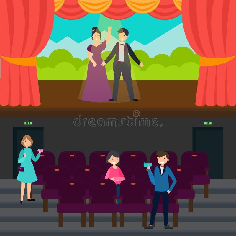 Folk i teaterhorisontalbaner stock illustrationer