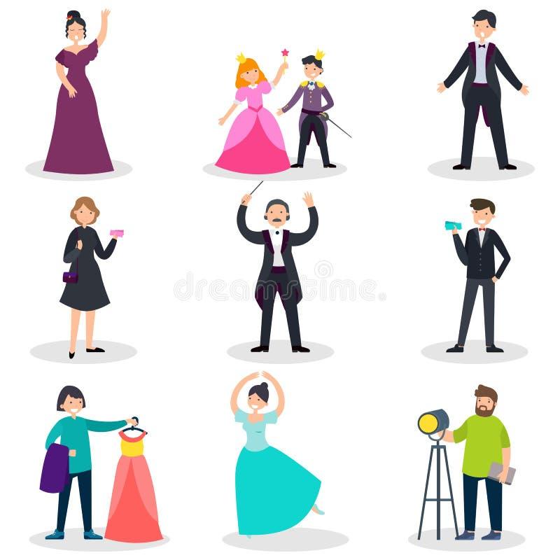 Folk i teateruppsättning stock illustrationer