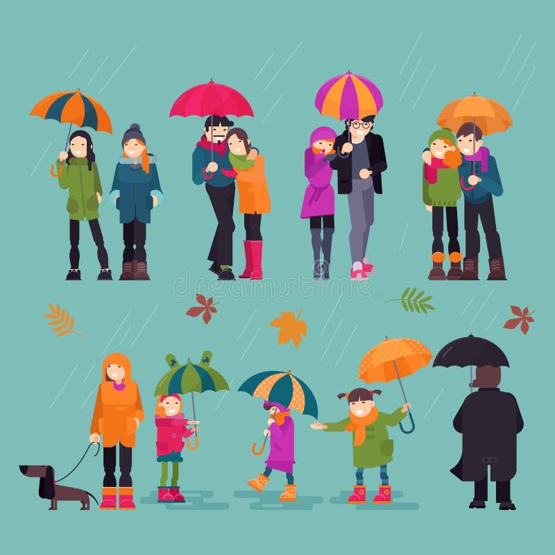 Folk i tecken för kvinna för regnvektorman som rymmer paraplyet som går med ungehunden i regnigt väder för höst med sidor vektor illustrationer