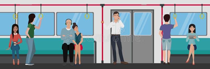 Folk inom ett gångtunneldrev Begrepp för folktunnelbanatrans. stock illustrationer