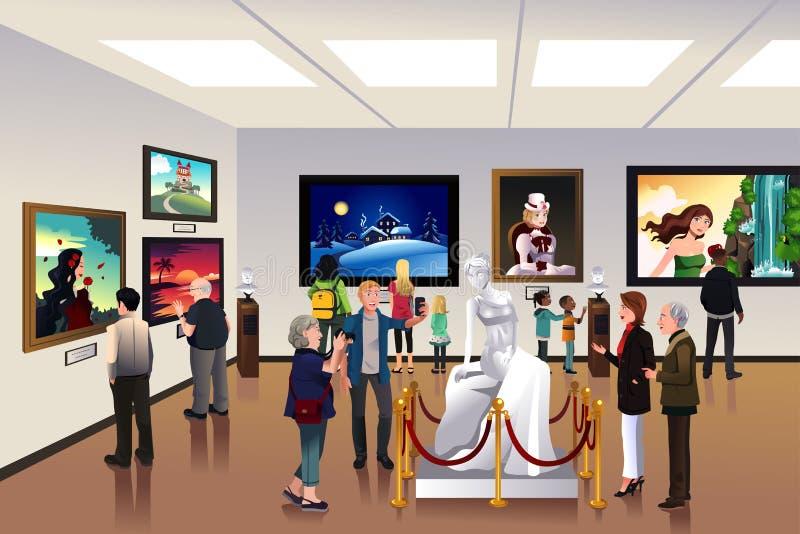 Folk inom ett museum royaltyfri illustrationer
