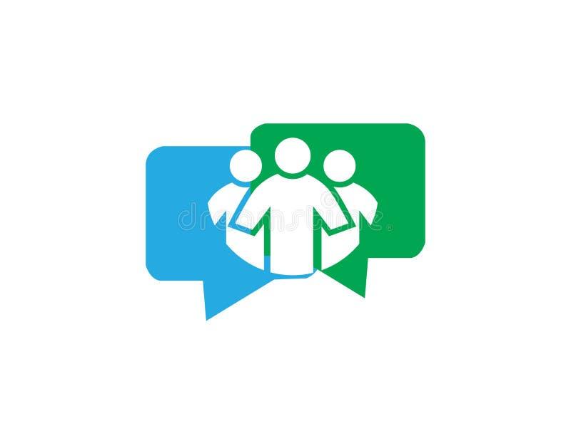 Folk inom pratstundkommunikationssymbol och kundtjänst för logodesign royaltyfri illustrationer
