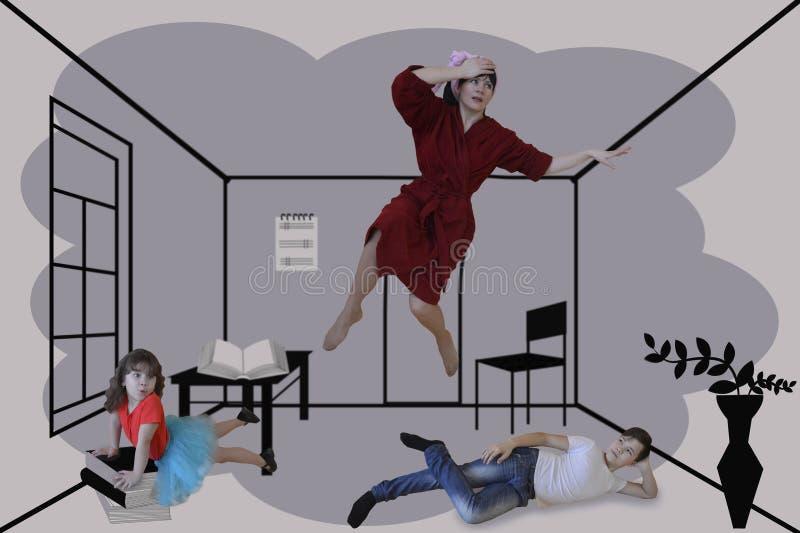 Folk kvinna, affär, tecknad film, illustration, vitt som är ung, sport, person, pojke som isoleras, golf, kontur, gyckel, glädje, royaltyfri illustrationer