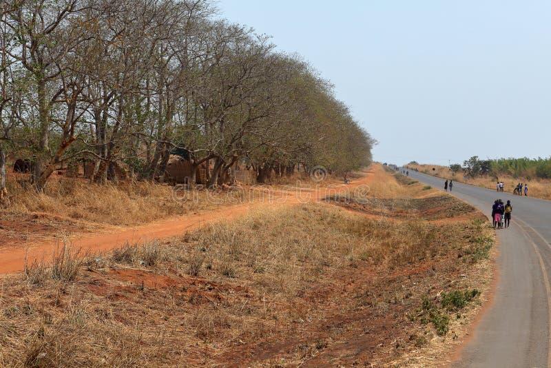 Folk längs en väg i Malawi royaltyfri foto