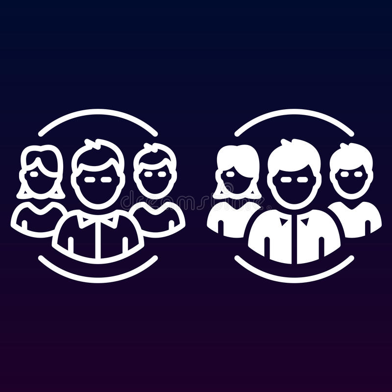 Folk, laglinje och fast symbol, översikt och fylld pictogram för tecken för vektor som linjär och full, isoleras på vit royaltyfri illustrationer