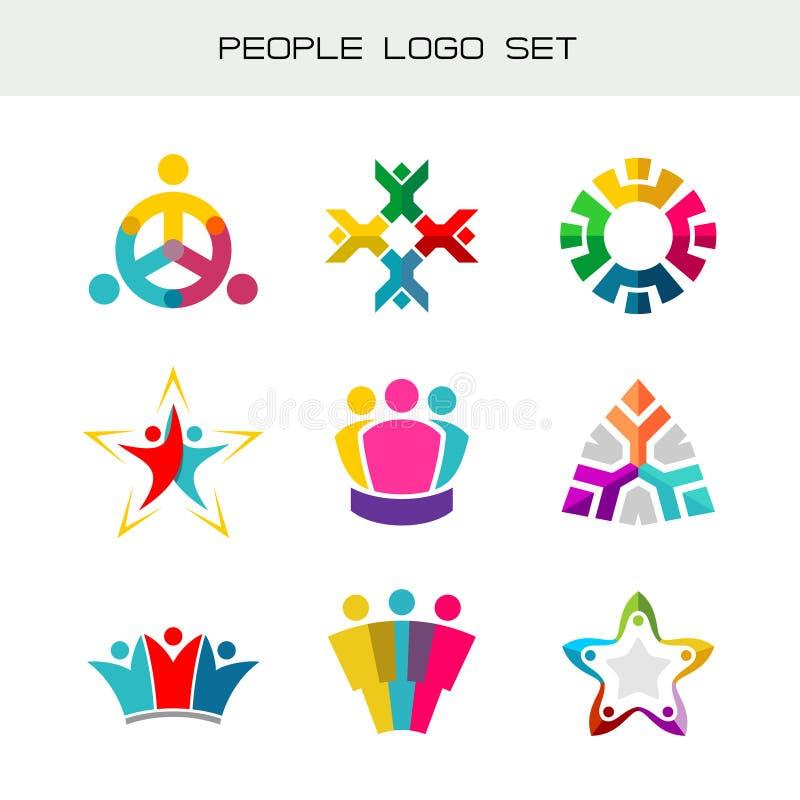 Folk Logo Set Grupp av två, tre, fyra eller fem personerlogoer stock illustrationer