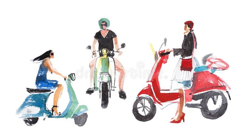 folk Man- och kvinnaridning på deras mopeder royaltyfri illustrationer