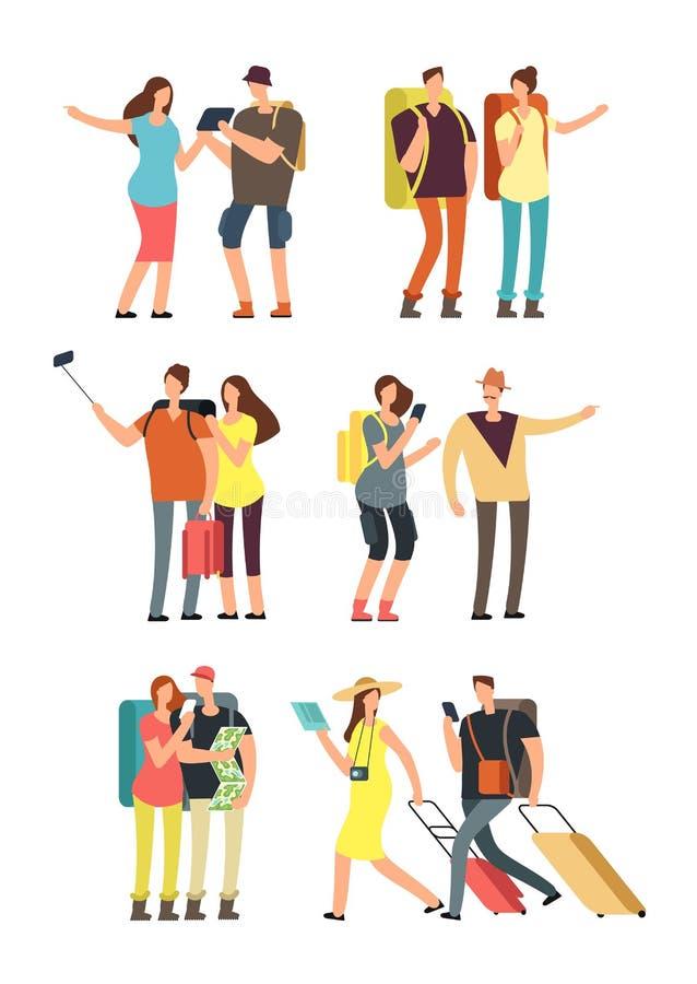 Folk med bagage på semester Turist- man, kvinna och ungar med påsar Resande familjvektortecken - uppsättning royaltyfri illustrationer
