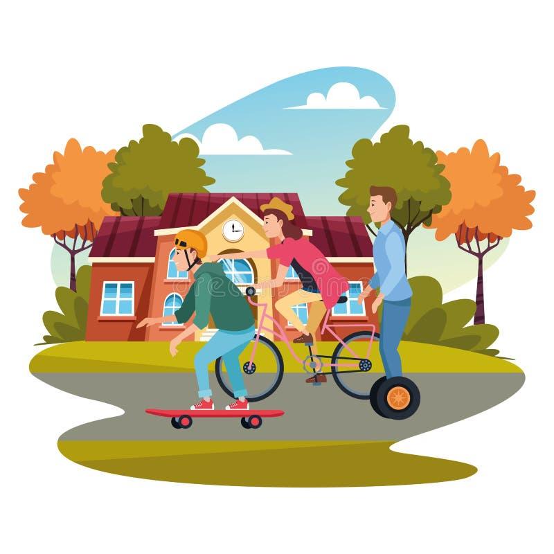 Folk med cyklar skateboard och sparkcykel royaltyfri illustrationer
