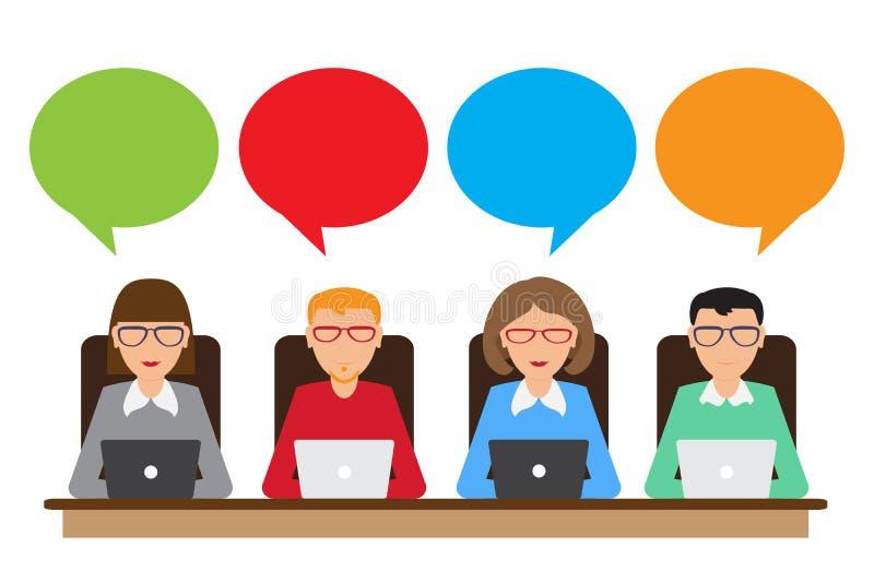 Folk med den anförandebubblor och bärbara datorn vektor illustrationer