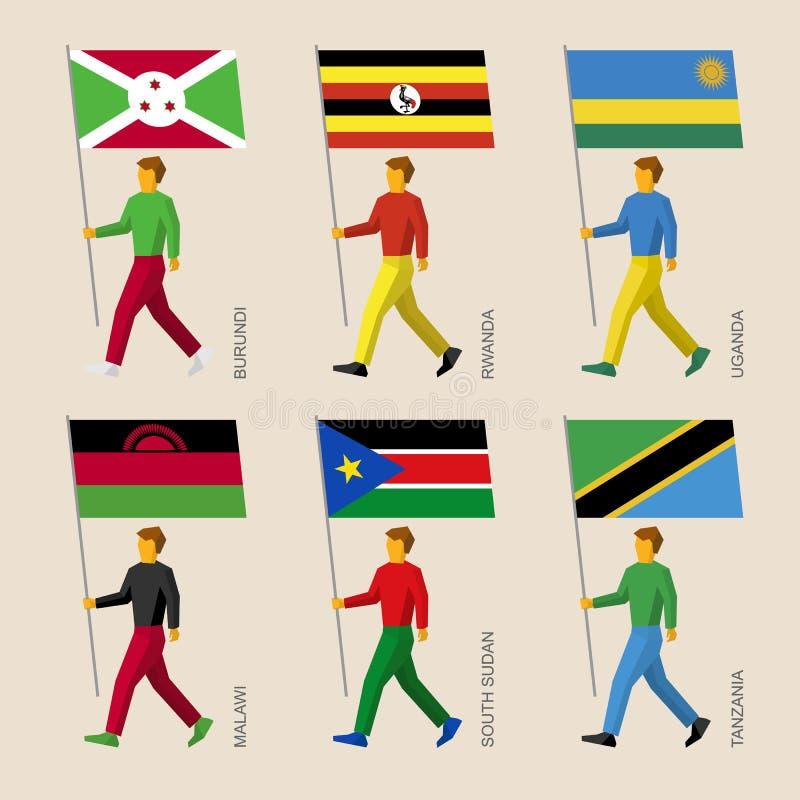 Folk med flaggor - Burundi, Rwanda, Uganda, Malawi, södra Sudan, Tanzania royaltyfri illustrationer