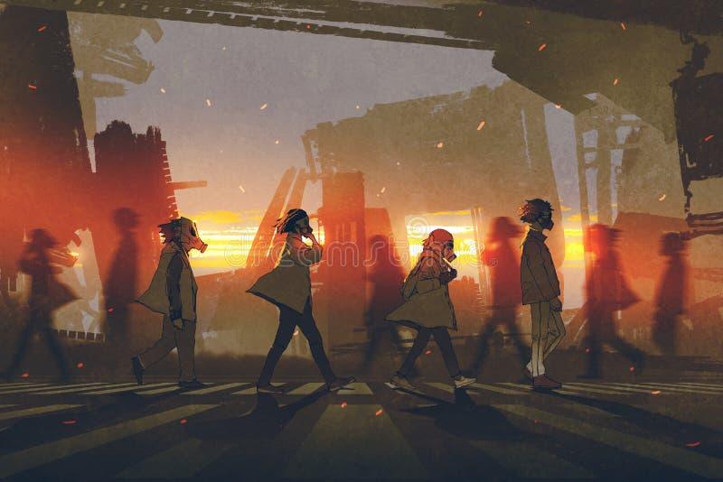 Folk med gasmaskar som går på gatan royaltyfri illustrationer