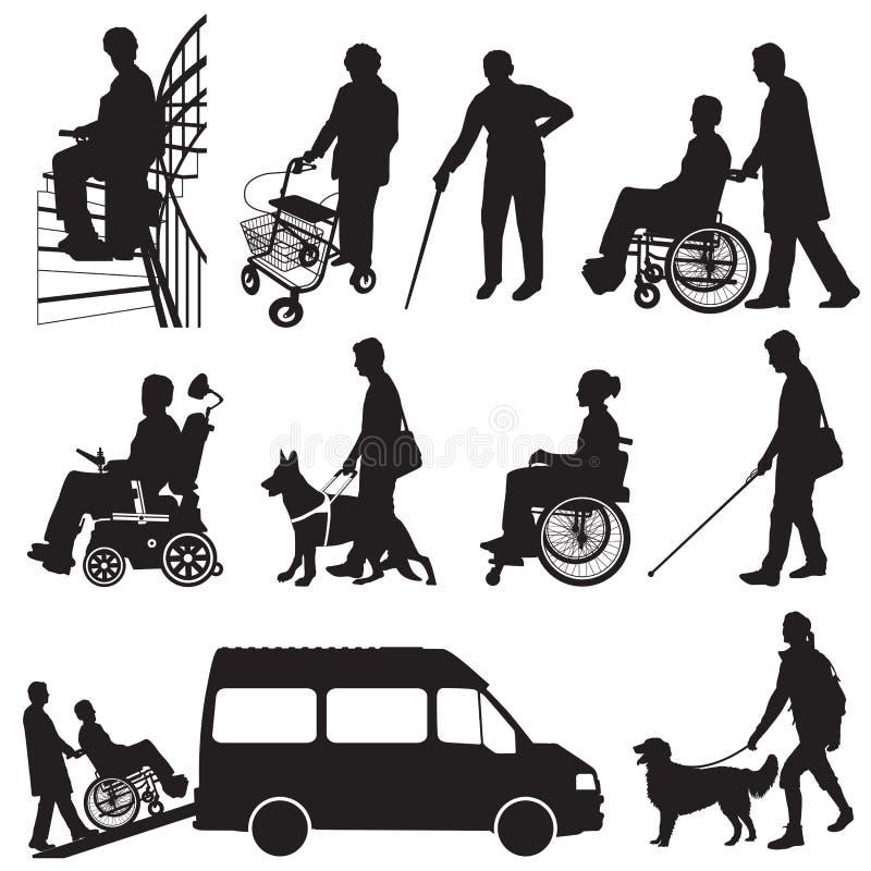 Folk med handikapp stock illustrationer