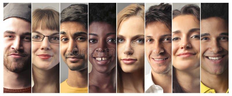 Folk med olika uttryck royaltyfri fotografi
