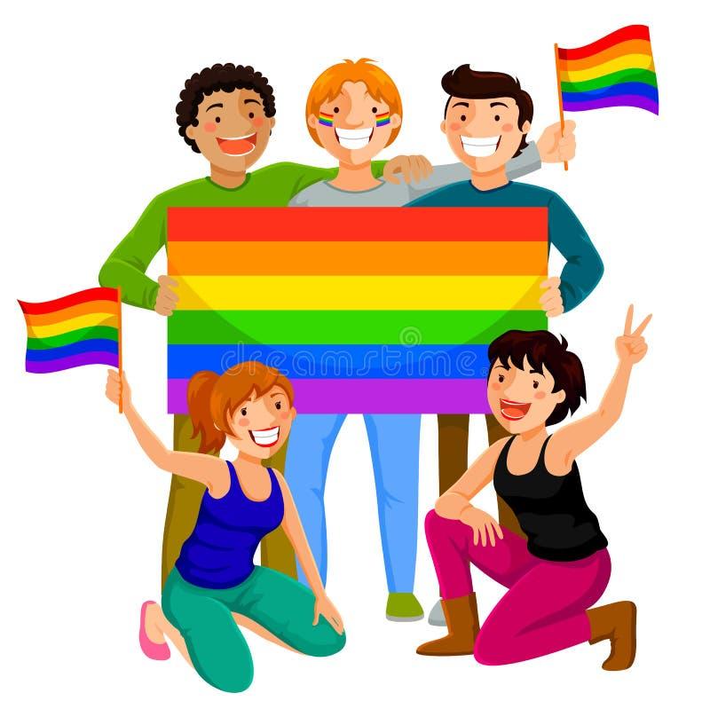 Folk med regnbågeflaggor royaltyfri illustrationer