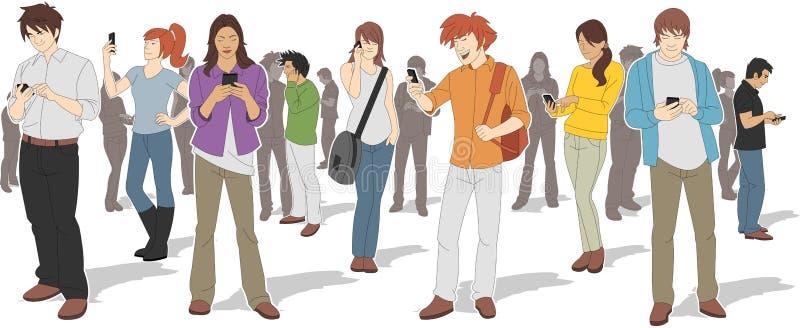 Folk med smarta telefoner royaltyfri illustrationer