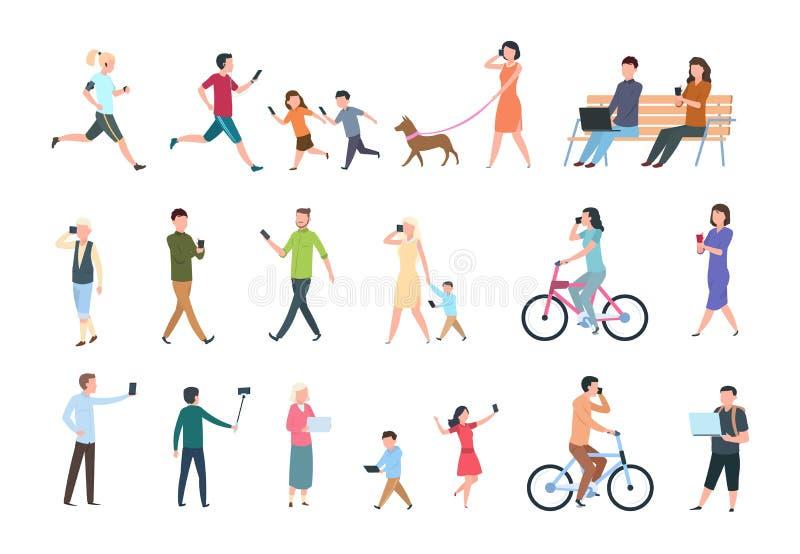 Folk med smartphones Många kvinnor och män med telefoner Personer med grejen som tar selfie Jobbuppsättning för vektor characters vektor illustrationer