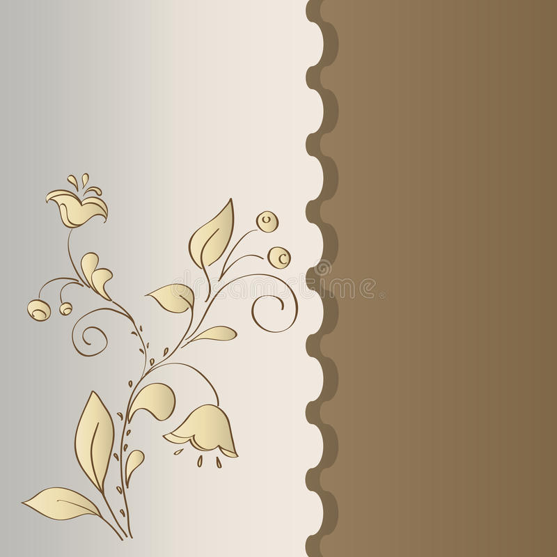 Folk motif of flowers in card. Card flowers on a neutral background. vector royalty free illustration