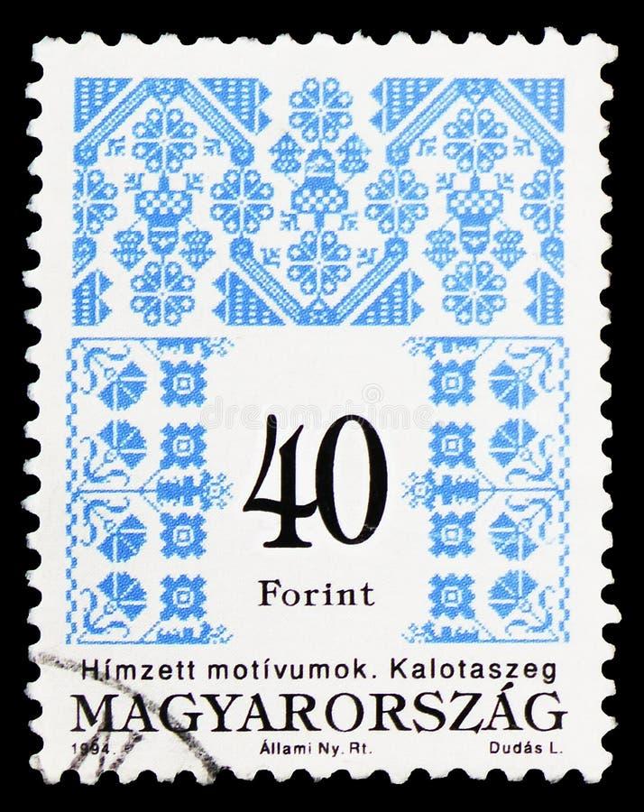 Folk motives of Kalotaszeg, Hungarian Folk Art serie, circa 1994 stock illustration