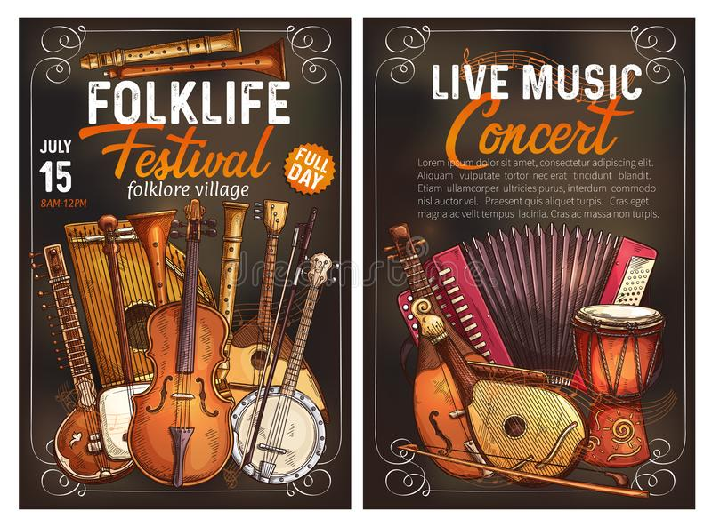 Folk music festival poster with ethnic instrument. Folk music festival live concert invitation poster with ethnic musical instrument. Viola, drum and sitar royalty free illustration