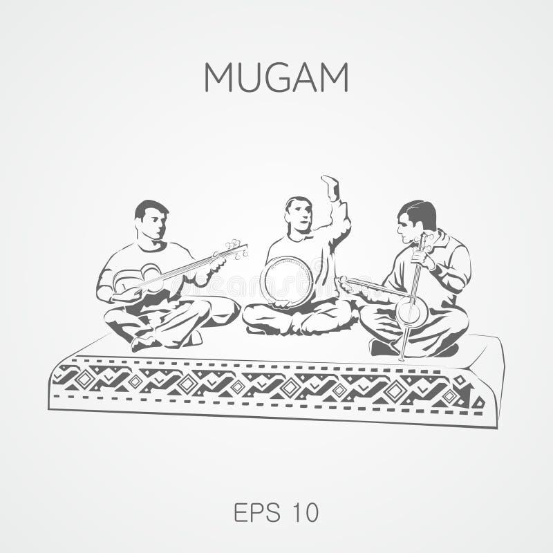 Folk musical compositions from Azerbaijan. Mugam. Mugham vector illustration