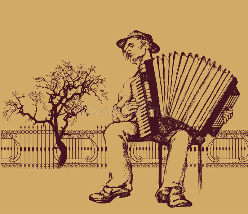 Folk musician. Accordion player plaing in street stock illustration