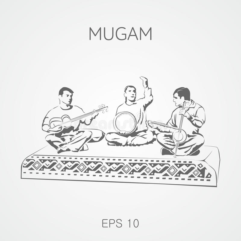 Folk musikaliska sammansättningar från Azerbajdzjan Mugam vektor illustrationer