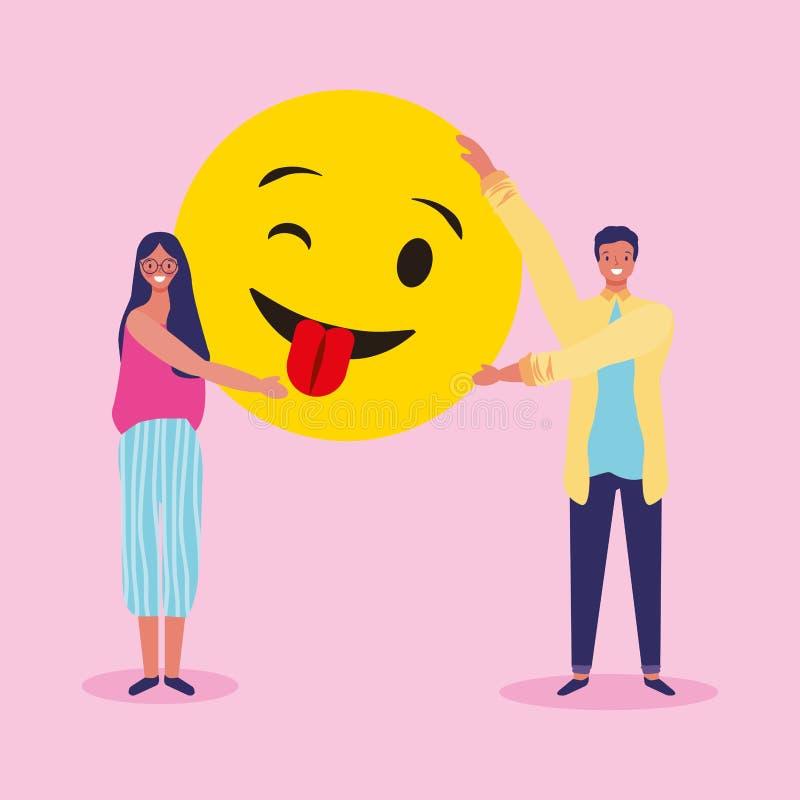 Folk och emojis royaltyfri illustrationer