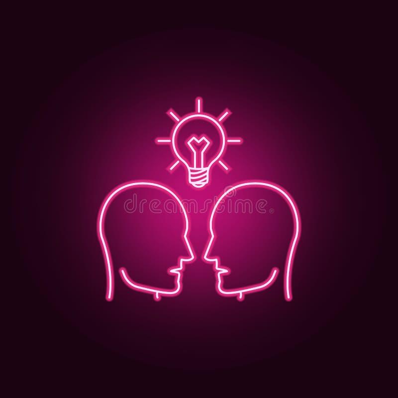 folk och en ljus kula ovanför dem neonsymbol r Enkel symbol f?r websites, reng?ringsdukdesign, mobil app, information stock illustrationer