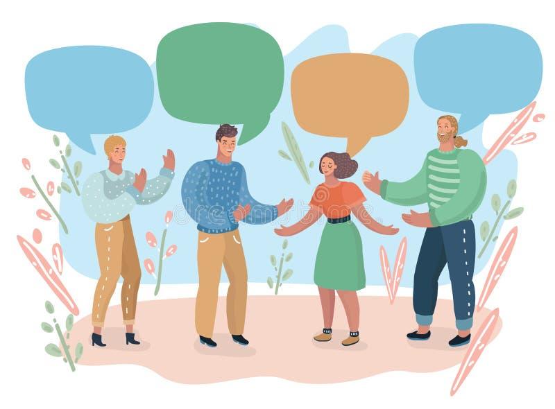 Folk och färgrika anförandebubblor royaltyfri illustrationer