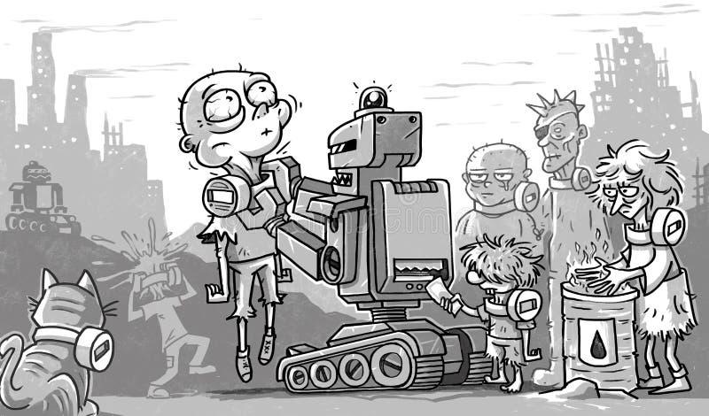 Folk och robotar för stolpeapokalyps fattigt stock illustrationer