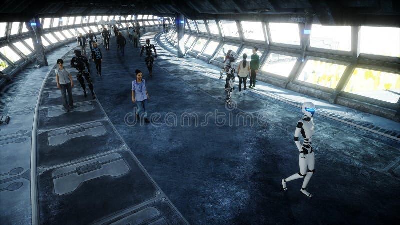 Folk och robotar Sci fi tonnel Futuristisk trafik Begrepp av framtid framf?rande 3d royaltyfri illustrationer