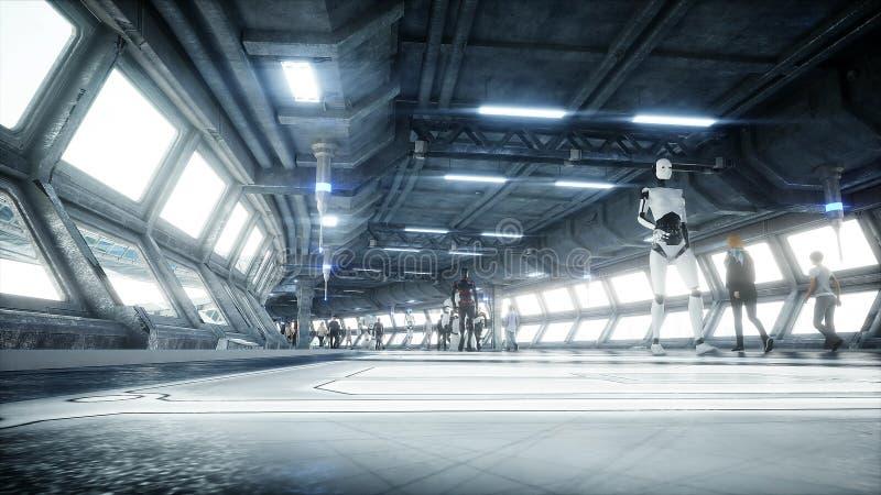 Folk och robotar Sci fi tonnel Futuristisk trafik Begrepp av framtid framf?rande 3d stock illustrationer
