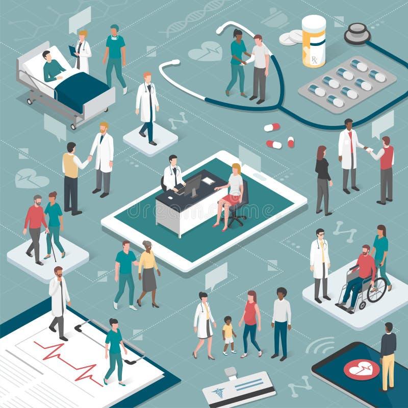 Folk och sjukvård vektor illustrationer