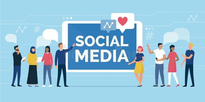 Folk och social massmediagemenskap direktanslutet royaltyfri illustrationer