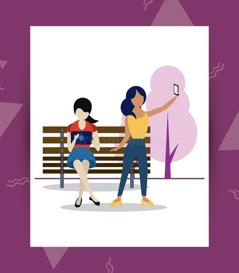 Folk och socialt massmedia och nätverk vektor illustrationer