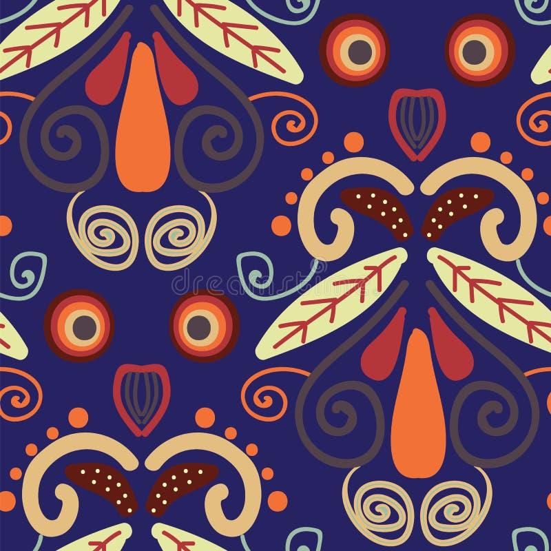 Folk orange röda och gula former på sömlös repetition för blå bakgrund vektor illustrationer