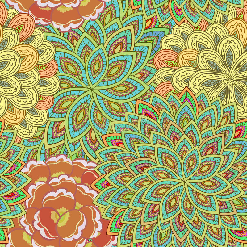 Folk ornamental textile seamless pattern. Golden ornate indian seamless background with flowers. Rich oriental texture with many. Elegant luxury texture for vector illustration