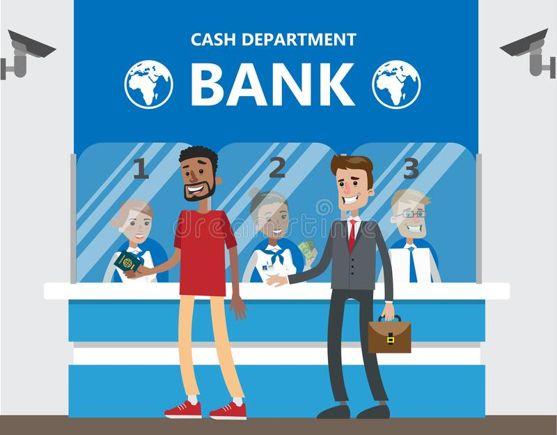 Folk på banken royaltyfri illustrationer