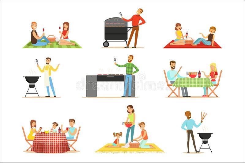 Folk på BBQ-picknick som äter och lagar mat utomhus grillat kött på elektrisk grillfestgallersamling av platser royaltyfri illustrationer