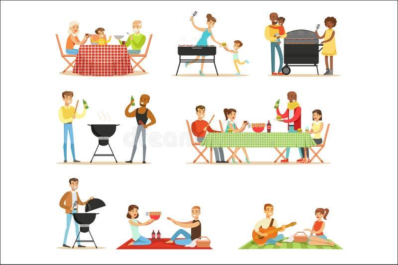 Folk på BBQ-picknick som äter och lagar mat utomhus grillat kött på elektrisk grillfestgalleruppsättning av platser vektor illustrationer
