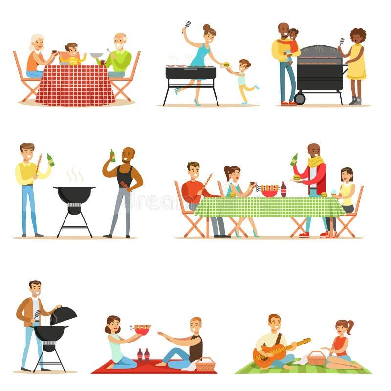 Folk på BBQ-picknick som äter och lagar mat utomhus grillat kött på elektrisk grillfestgalleruppsättning av platser stock illustrationer