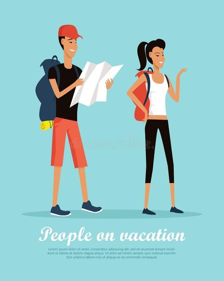 Folk på begreppsmässigt plant vektorbaner för semester stock illustrationer