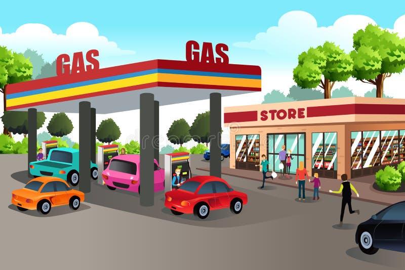 Folk på bensinstationen och servicebutiken royaltyfri illustrationer
